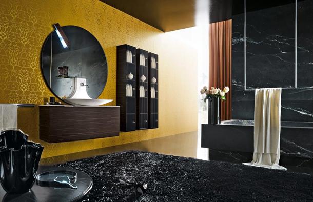 Siyah tasarımlı banyo-tuvalet dekorasyonu