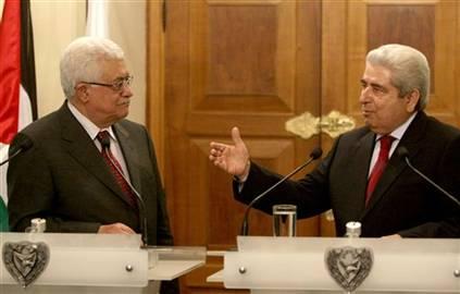 Fiilistin Yönetimi Başkanı Mahmud Abbas ve Kıbrıs Rum lideri Yönetimi lideri Dimitris Hristofyas